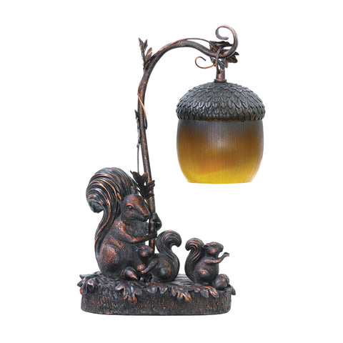 Sterling Squirrel Acorn 1 Light Mini Table Lamp In Burwell Bronze
