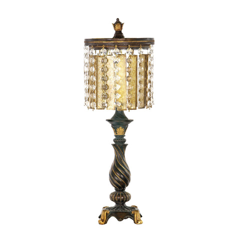 Beautiful Dimond Lighting Amber And Crystal 1 Light Table Lamp in Gold Leaf And Black