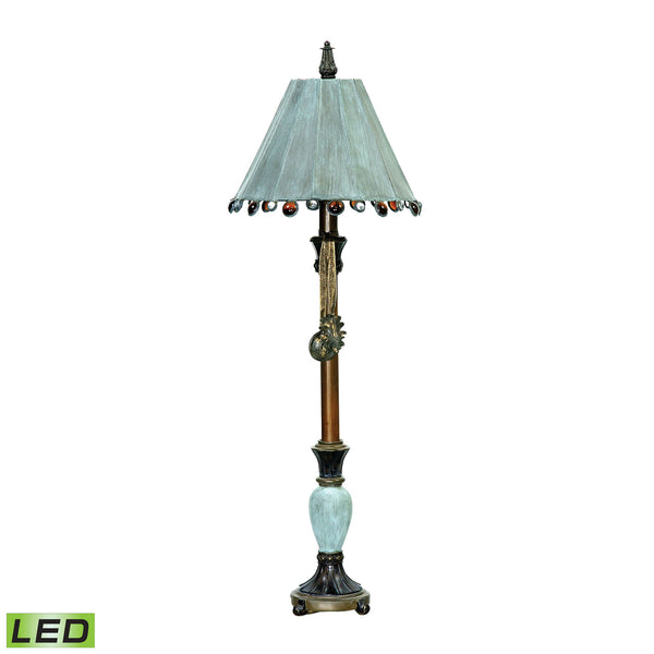 Beautiful Dimond Lighting Rustic Tiffany 1 Light LED Table Lamp In Cambridge Bronze And Blue
