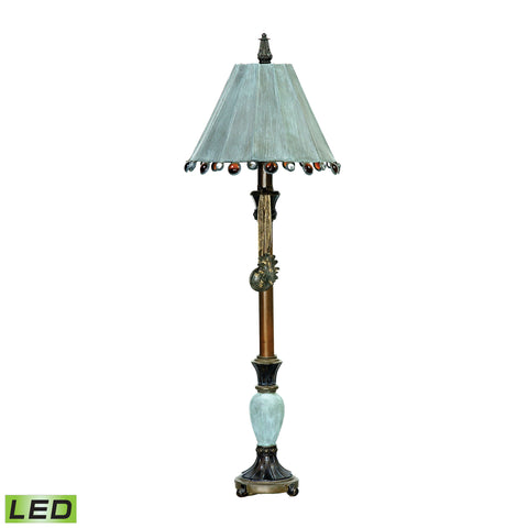 Beautiful Dimond Lighting  Rustic Tiffany 1 Light LED Table Lamp In Cambridge Bronze And Blue  in  Acrylic, Composite, Metal