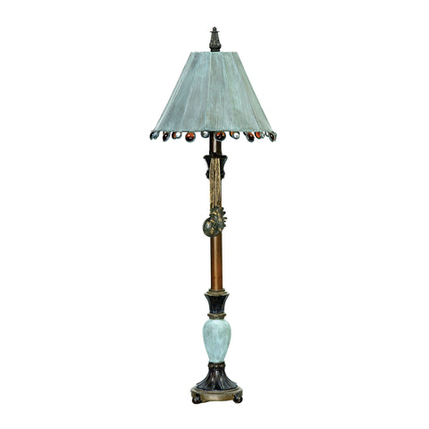 Rustic Tiffany Table Lamp in Bronze and Blue.