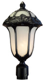 Rose Garden F-2710-BLK-AB Medium Post Mount Light with Alabaster Glass