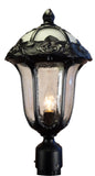 Rose Garden F-3710-BLK-SG Large Post Mount Light with Seedy Glass