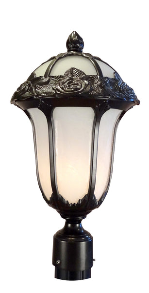 Rose Garden F-2710-ORB-AB Medium Post Mount Light with Alabaster Glass