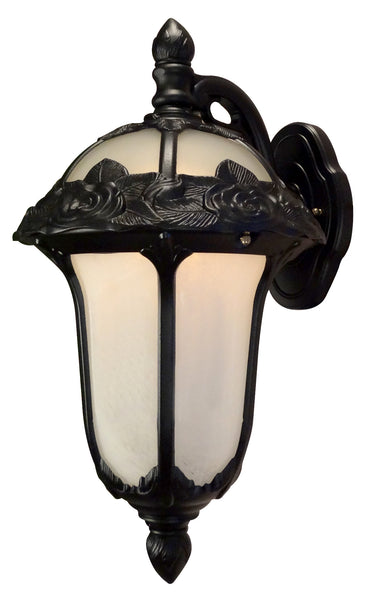 Rose Garden F-1711-BLK-AB Small Top Mount Light with Alabaster Glass
