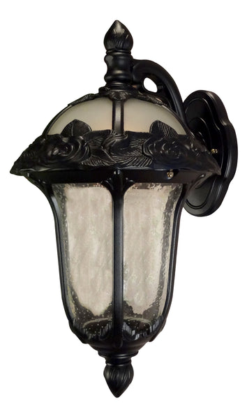 Rose Garden F-1711-BLK-SG Small Top Mount Light with Clear Seedy Glass