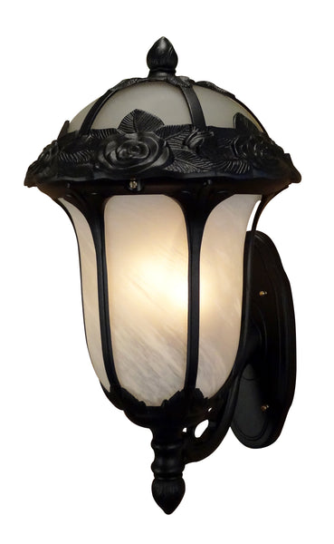 Rose Garden F-3717-BLK-AB Large Bottom Mount Light with Alabaster Glass