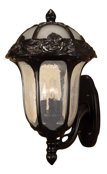 Rose Garden F-3717-ORB-SG  Large Bottom Mount Light with Seedy Glass