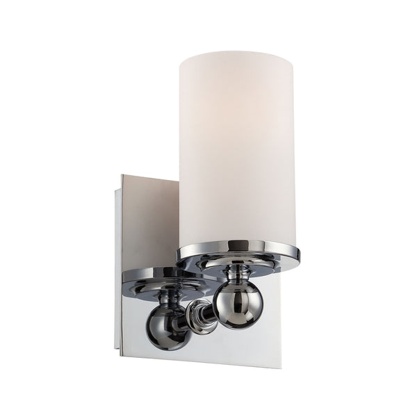Adam 1 Light Vanity In Chrome And White Opal Glass