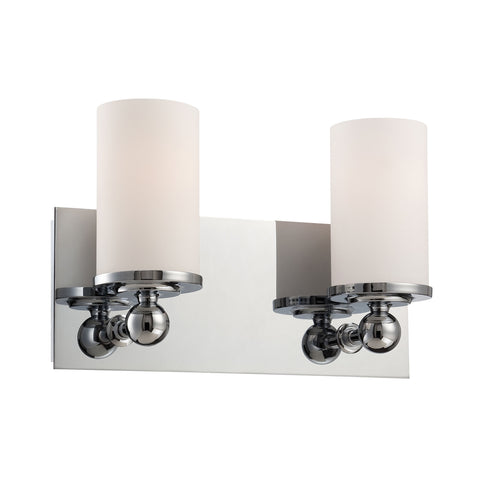 Adam 2 Light Vanity In Chrome And White Opal Glass