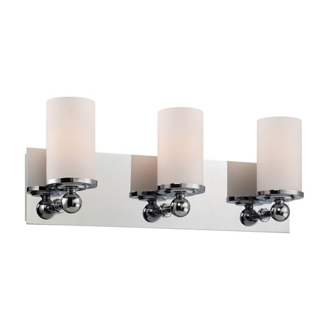 Adam 3 Light Vanity In Chrome And White Opal Glass