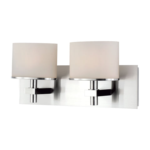ELK Lighting  Ombra Vanity - 2 light w/lamps. White Opal glass / Chrome finish.