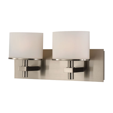 ELK Lighting  Ombra Vanity - 2 light w/lamps. White Opal glass / Satin Nickel