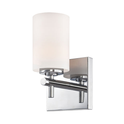 Barro 1 Light Vanity In Chrome And White Opal Glass