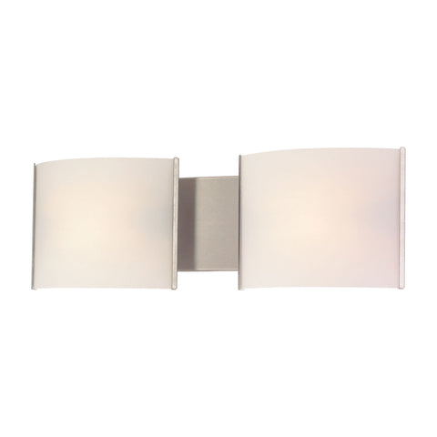 ELK Lighting  Pannelli Vanity - 2 light w/lamps. White Opal glass /SS finish.