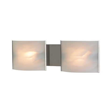 ELK Lighting  Pannelli Vanity - 2 light w/lamps. White Alabaster glass / SS finish.