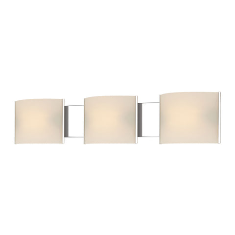 ELK Lighting  Pannelli Vanity - 3 light w/lamps. White Opal glass / Chrome finish.