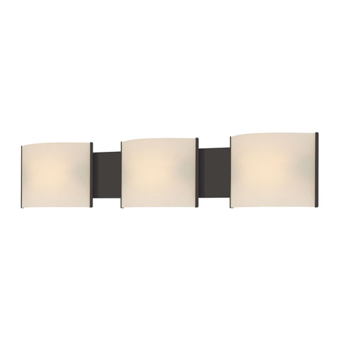 Pannelli 3 Light Vanity In Oil Rubbed Bronze And Hand-Moulded White Opal Glass