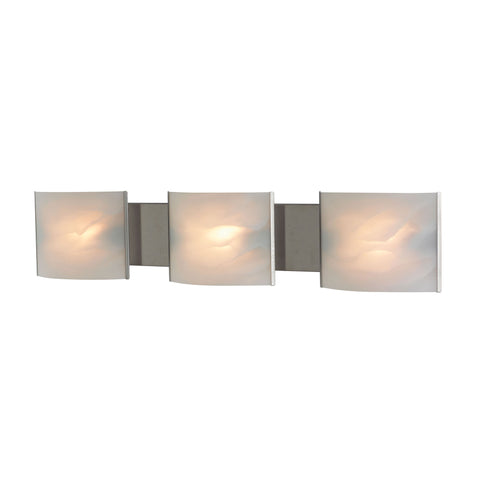 ELK Lighting  Pannelli Vanity - 3 light w/lamps. White Alabaster glass / SS finish.