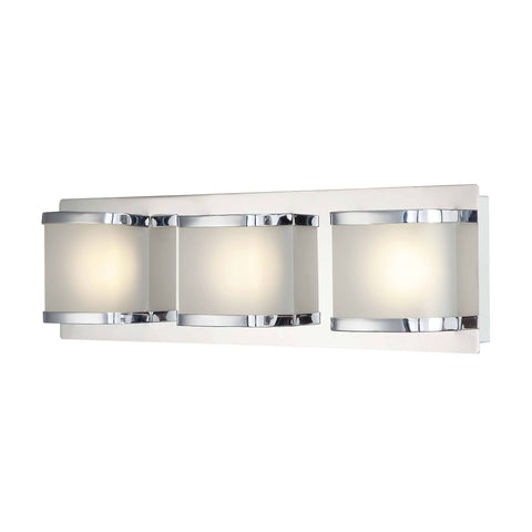 Bandeaux 3 Light LED Vanity In Chrome And Opal Glass