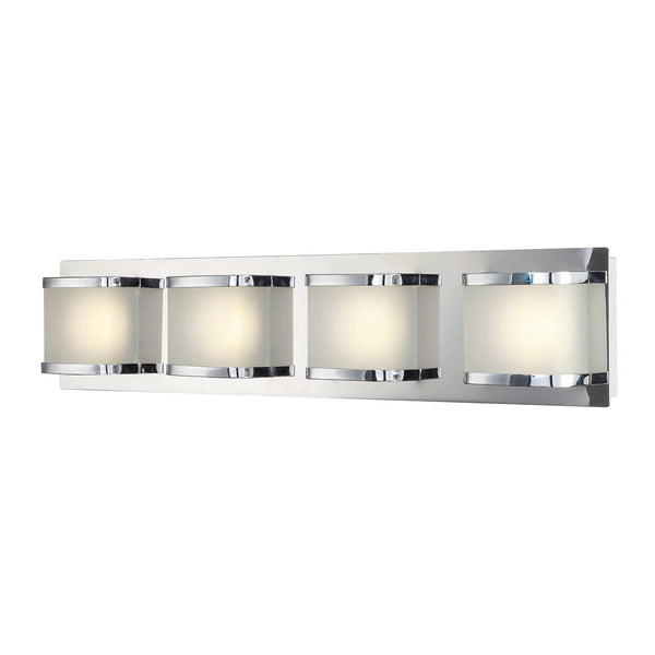Bandeau 4 Light Vanity In Chrome And Rounded Glass