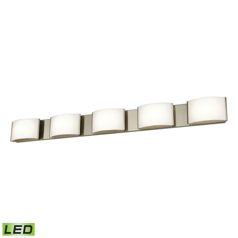 Pandora LED 5 Light LED Vanity In Satin Nickel And Opal Glass