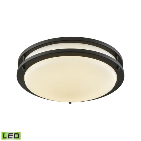 "Thomas Clarion 11"" LED Flush In Oil Rubbed Bronze With A White Acrylic Diffuser"
