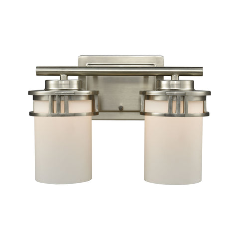 Thomas Ravendale 2 Light Bath In Brushed Nickel With Opal White Glass
