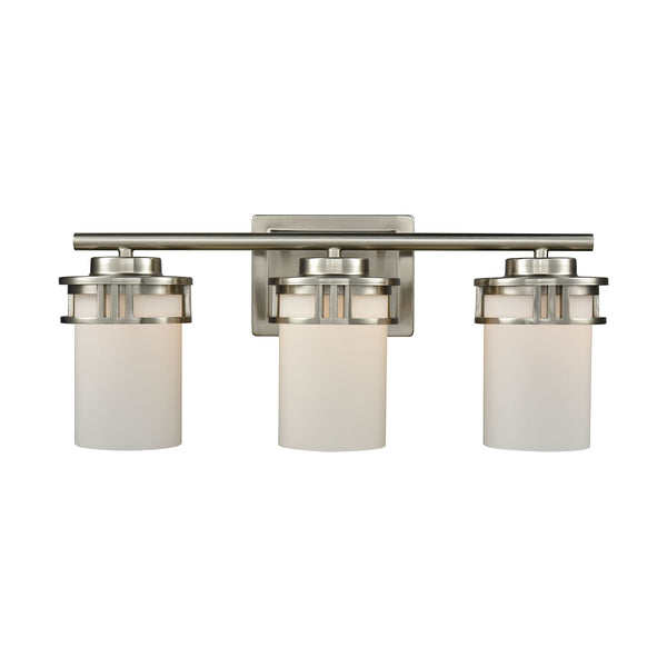 Thomas Ravendale 3 Light Bath In Brushed Nickel With Opal White Glass