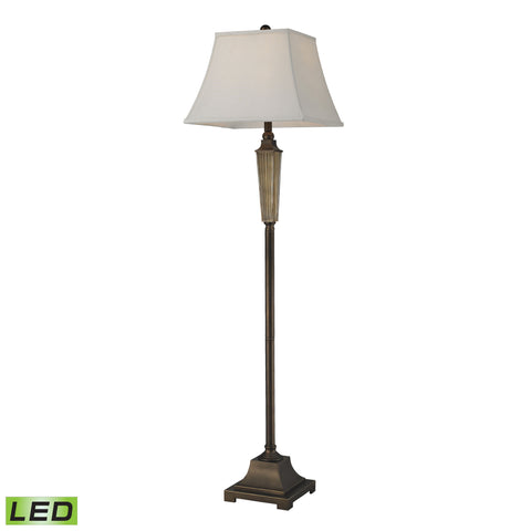Amber Smoked Glass LED Floor Lamp With Bronze Accents