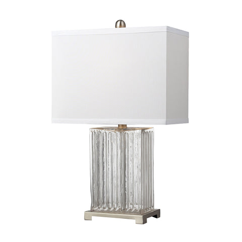 Beautiful Dimond Lighting  Ribbed Clear Glass Table Lamp in Brushed Steel  in  Glass, Steel