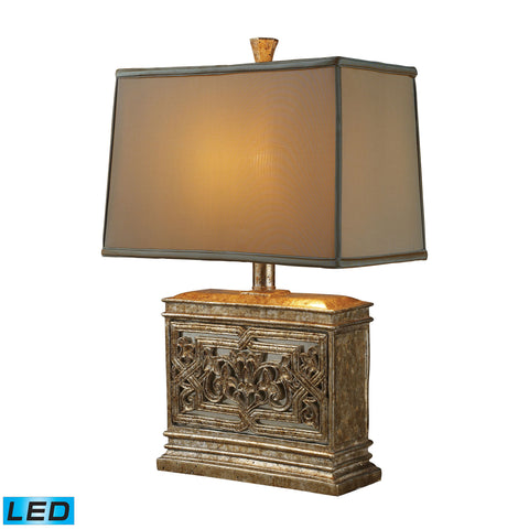 Beautiful Dimond Lighting Laurel Run LED Table Lamp In Courtney Gold With Ria Bronze Shade And Cream Liner