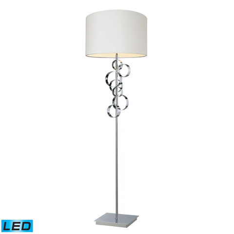 Avon Comtemporary Chrome LED Floor Lamp With Intertwined Circular Design