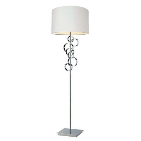 Avon Comtemporary Chrome Floor Lamp With Intertwined Circular Design