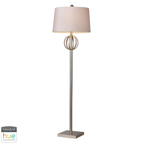 Beautiful Dimond Lighting  Donora Floor Lamp in Silver Leaf with Milano Off White Shade - with Philips Hue LED Bulb/Bridge  in  Steel