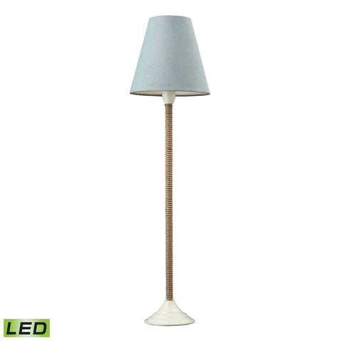 Beautiful Dimond Lighting Natural Rope Wrapped LED Buffet Lamp In White With Blue Linen Shade