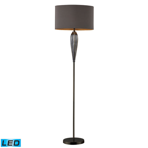 Beautiful Dimond Lighting Carmichael LED Floor Lamp In Steel Smoked Glass And Black Nickel