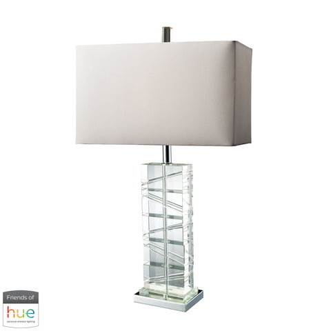 Beautiful Dimond Lighting  Avalon Table Lamp in Clear Crystal and Chrome - with Philips Hue LED Bulb/Dimmer  in  Crystal, Steel