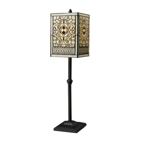 Beautiful Dimond Lighting Adamson Table Lamp In Tiffany Bronze With Glass Shade