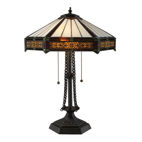 Filigree 2 Light Table Lamp In Tiffany Bronze.