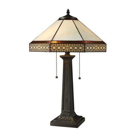 Beautiful Dimond Lighting Stone Filigree 2 Light Table Lamp In Tiffany Bronze