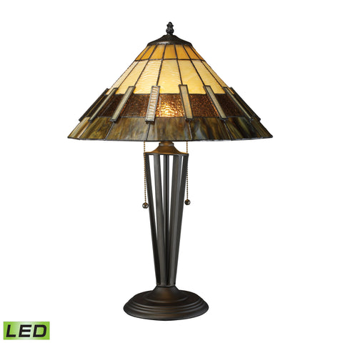 Beautiful Dimond Lighting  Porterdale 2 Light LED Table Lamp In Tiffany Bronze  in  Glass, Metal