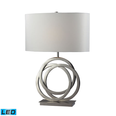 Beautiful Dimond Lighting Trinity LED Table Lamp In Polished Nickel With Pure White Shade