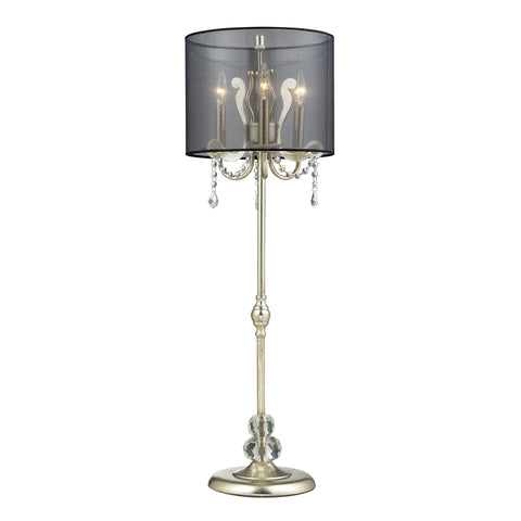Beautiful Dimond Lighting Andover Tall Buffet Lamp In Siver Leaf With Black Organza Shade