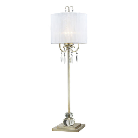 Albion Tall Buffet Lamp In Siver Leaf With Pure White Ribbon Wrapped Shade.