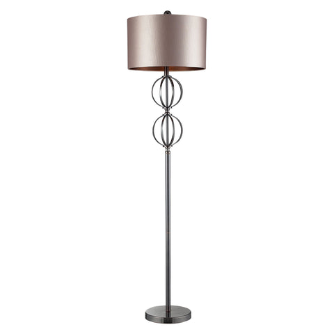 Beautiful Dimond Lighting  DANFORTH FLOOR LAMP COFFEE PLATED, CHAMPAGE FAUX SILK SHADE, DK CHOC LINER  in  Steel