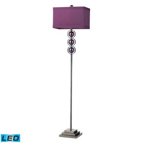 Alva Contemporary LED Floor Lamp In Black Nickel And Purple