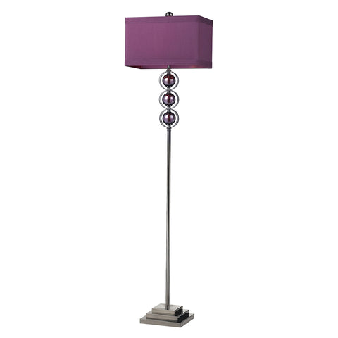 Alva Contemporary Floor Lamp In Black Nickel And Purple