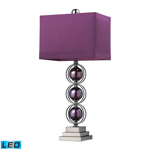 Alva Contemporary LED Table Lamp In Black Nickel And Purple.