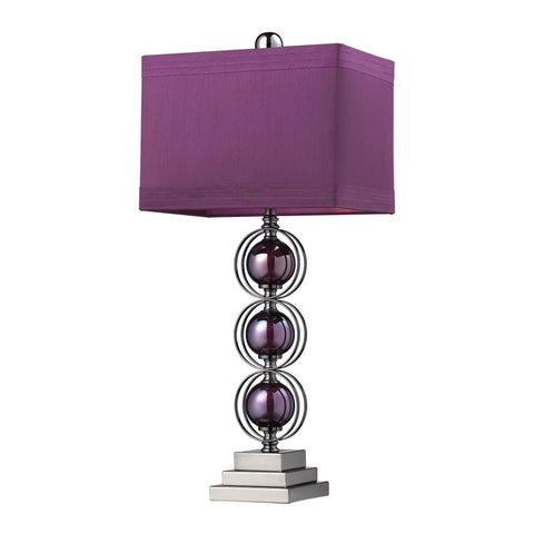 Beautiful Dimond Lighting  ALVA TABLE LAMP, PURPLE AND BK NICKEL, PURPLE FAUX SILK SHD, PURPLE LINER  in  Steel